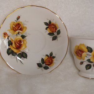 Queen Anne bone china teacup saucer yellow roses